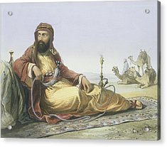 An Arab Resting In The Desert, Title Acrylic Print by Emile Prisse d'Avennes