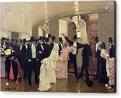 An Argument In The Corridors Of The Opera Acrylic Print by Jean Beraud