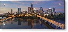 A Panorama Of The Austin Skyline Over Lady Bird Lake Acrylic Print