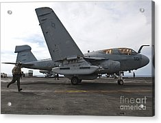 An Ea-6b Prowler Prepares To Launch Acrylic Print by Stocktrek Images