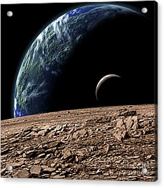 An Earth-like Planet In Deep Space Acrylic Print by Marc Ward