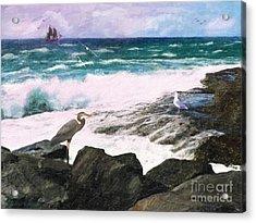 Acrylic Print featuring the digital art An Egret's View Seascape by Lianne Schneider