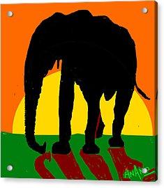 An Elephant And Sun Acrylic Print by Anand Swaroop Manchiraju