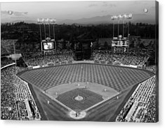 An Evening Game At Dodger Stadium Acrylic Print by Mountain Dreams