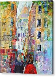 An Evening Walk To Sacre Coeur Acrylic Print by Sylvia Paul