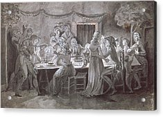 An Evening Wedding Meal Pen & Ink And Gouache On Paper Acrylic Print