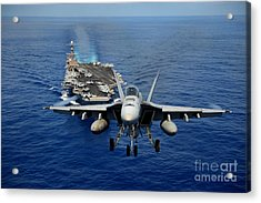 Acrylic Print featuring the photograph An Fa-18 Hornet Demonstrates Air Power. by Paul Fearn