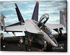 An Fa-18f Super Hornet Sits Acrylic Print by Stocktrek Images