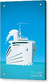 An Image Of A White Cruise Ship And The Acrylic Print