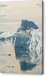 An Inuit Fishing Boat In Icebergs Acrylic Print