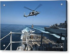 An Mh-60s Sea Hawk Brings Pallets Acrylic Print by Stocktrek Images