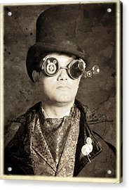 An Old Battered Photograph Of A Well-dressed Gentleman Acrylic Print by Evan Butterfield