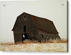 An Old Leaning Barn In North Dakota Acrylic Print