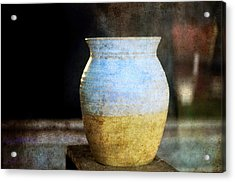 An Old Pot In Vintage Background Acrylic Print