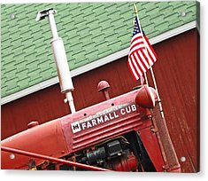 An Old Red Tractor Acrylic Print by Michael Allen