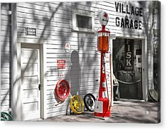 An Old Village Gas Station Acrylic Print by Mal Bray