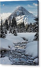 An Open Creek With Snow Covered Curvy Acrylic Print by Michael Interisano