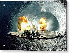 An Overhead View Of The Battleship Uss Iowa Bb61 Firing All 15 Of Its Guns Acrylic Print by Paul Fearn