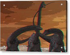 Anaglyph Diplodocus Acrylic Print by Ramon Martinez