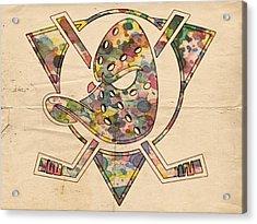 Anaheim Ducks Retro Poster Acrylic Print