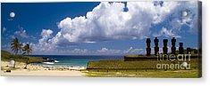 Anakena Beach With Ahu Nau Nau Moai Statues On Easter Island Acrylic Print
