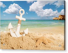Anchor On The Beach Acrylic Print by Amanda Elwell