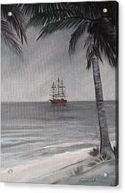 Acrylic Print featuring the painting Anchored For The Night by Virginia Coyle
