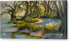 Anchored In The Marsh Acrylic Print by Jane Woodward