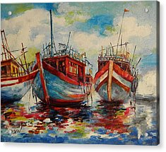 Anchored Acrylic Print by Min Wang