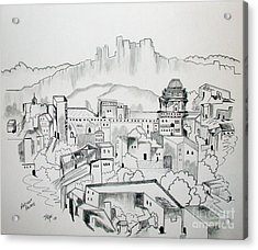 Acrylic Print featuring the drawing Ancient City In Pen And Ink by Janice Rae Pariza