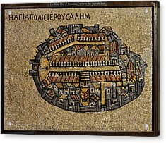 Ancient Jerusalem Mosaic Map Color Framed Acrylic Print