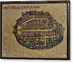 Ancient Jerusalem Mosaic Map Color Framed Acrylic Print by Mark Fuller