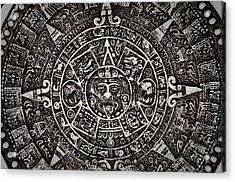 Aztec Sun God Acrylic Print by Brandon Bourdages