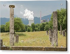 Ancient Megalopolis And Coal Powerplant. Acrylic Print by David Parker/science Photo Library