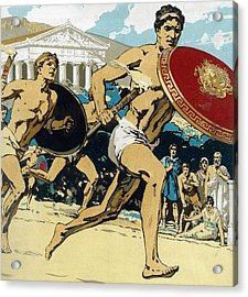 Ancient Olympic Games  The Relay Race Acrylic Print by Unknown