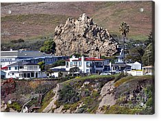 Ancient Sea Stack At Pismo Beach Above Motels Acrylic Print by Susan Wiedmann