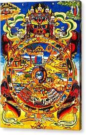 Ancient Tibetan Tangka Wheel Of Life Acrylic Print