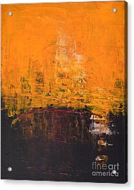 Ancient Wisdom Orange Brown Abstract By Chakramoon Acrylic Print by Belinda Capol