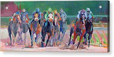 And Down The Stretch They Com Acrylic Print by Kimberly Santini