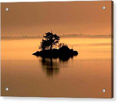 And The Fog Rolls In Acrylic Print by Larry Trupp
