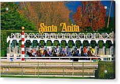 And They're Off At Santa Anita Acrylic Print by Nadalyn Larsen