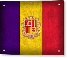 Andorra Flag Vintage Distressed Finish Acrylic Print by Design Turnpike