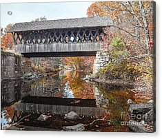 Andover Covered Bridge Acrylic Print by Edward Fielding