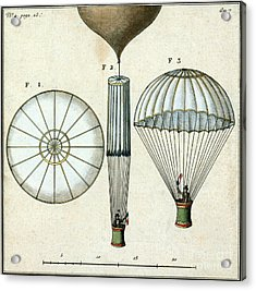 Andre Jacques Garnerins Parachute 1797 Acrylic Print by Science Source