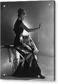 Andrea Johnson Wearing A Striped Dress Acrylic Print by Cecil Beaton