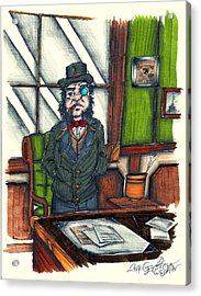 Andrew C. At His Desk Acrylic Print by Geoffrey Walker