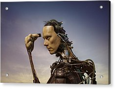 Android Robot Replacing Memory Card Acrylic Print by Peter Sherrard