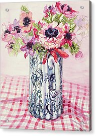 Anemones In A Victorian Flowered Jug Acrylic Print by Joan Thewsey