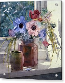 Anemones Acrylic Print by Julia Rowntree