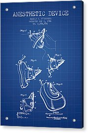 Anesthetic Device Patent From 1941 - Blueprint Acrylic Print by Aged Pixel